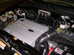 Engine compartment of a 2006 Mercury Mariner Hybrid