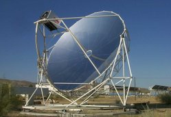Point focus parabolic dish with Stirling System at Plataforma Solar de Almería (PSA) in Spain